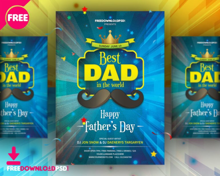 Fathers Day Party Flyer Free PSD