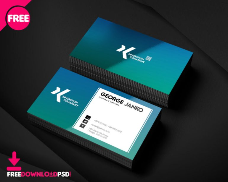 Corporate Manager Business Card PSD Template