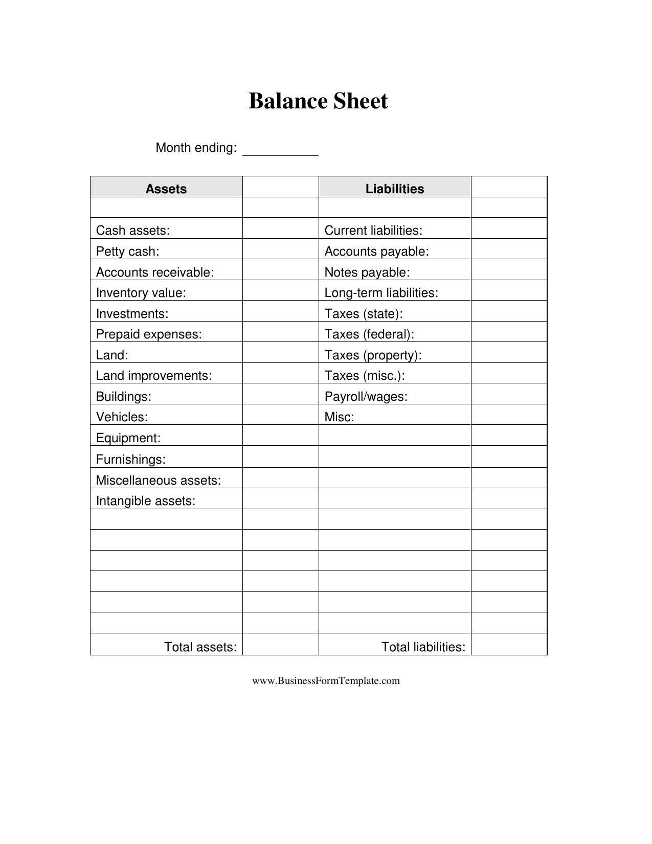 Download Business Balance Sheet Template