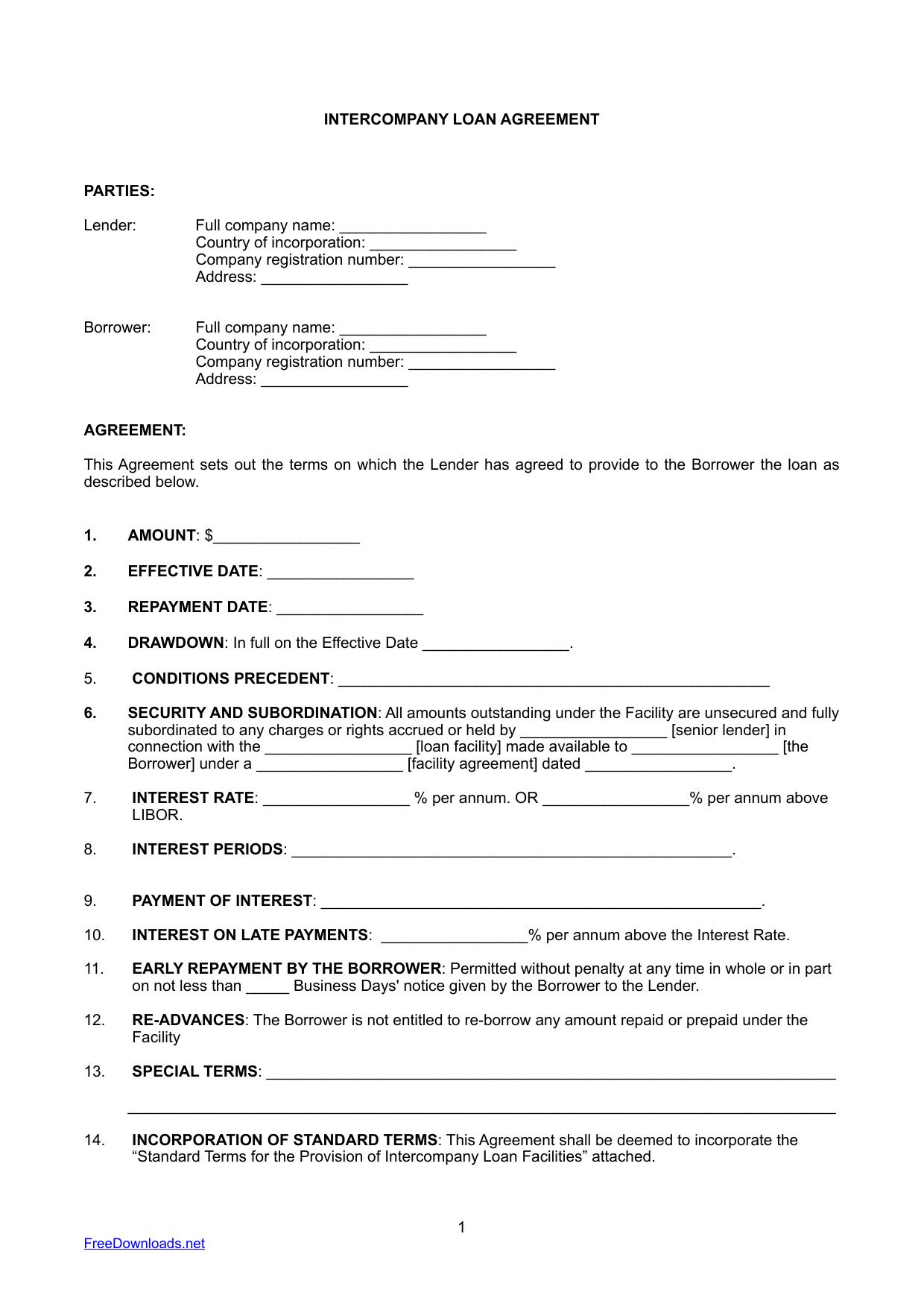 Download InterCompany Loan Agreement Template PDF RTF Word