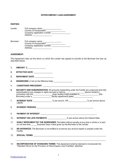 Download InterCompany Loan Agreement Template | PDF | RTF ...