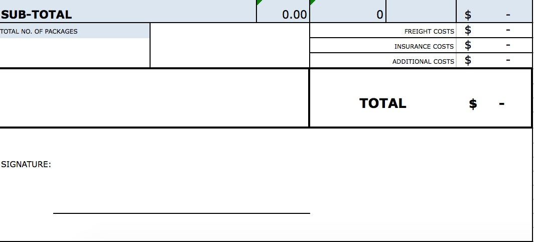 Download Standard Blank Commercial Invoice Template Excel PDF RTF Word
