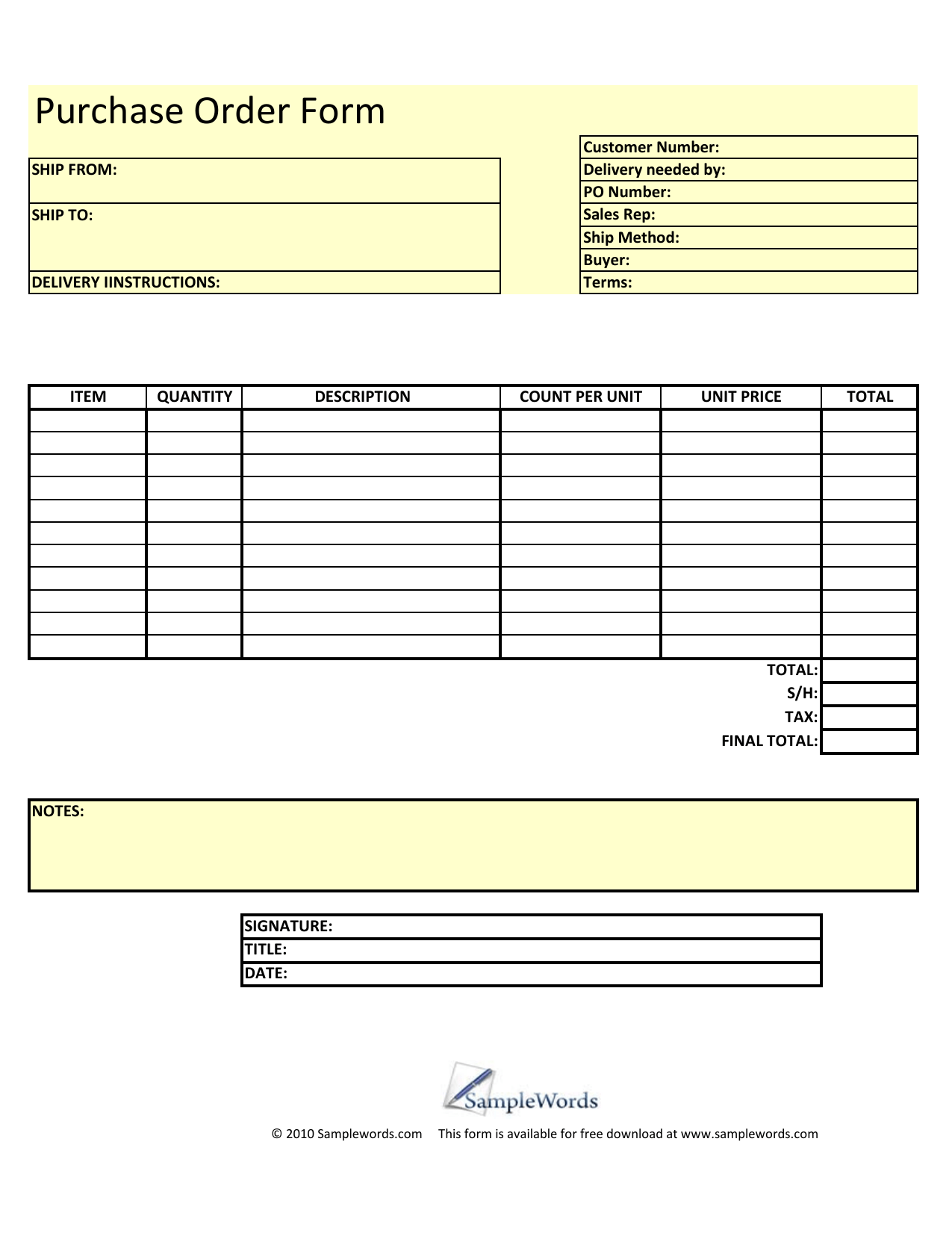 Download Blank Purchase Order Form Template