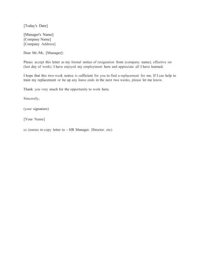 Weeks Notice Letter Template And Sample