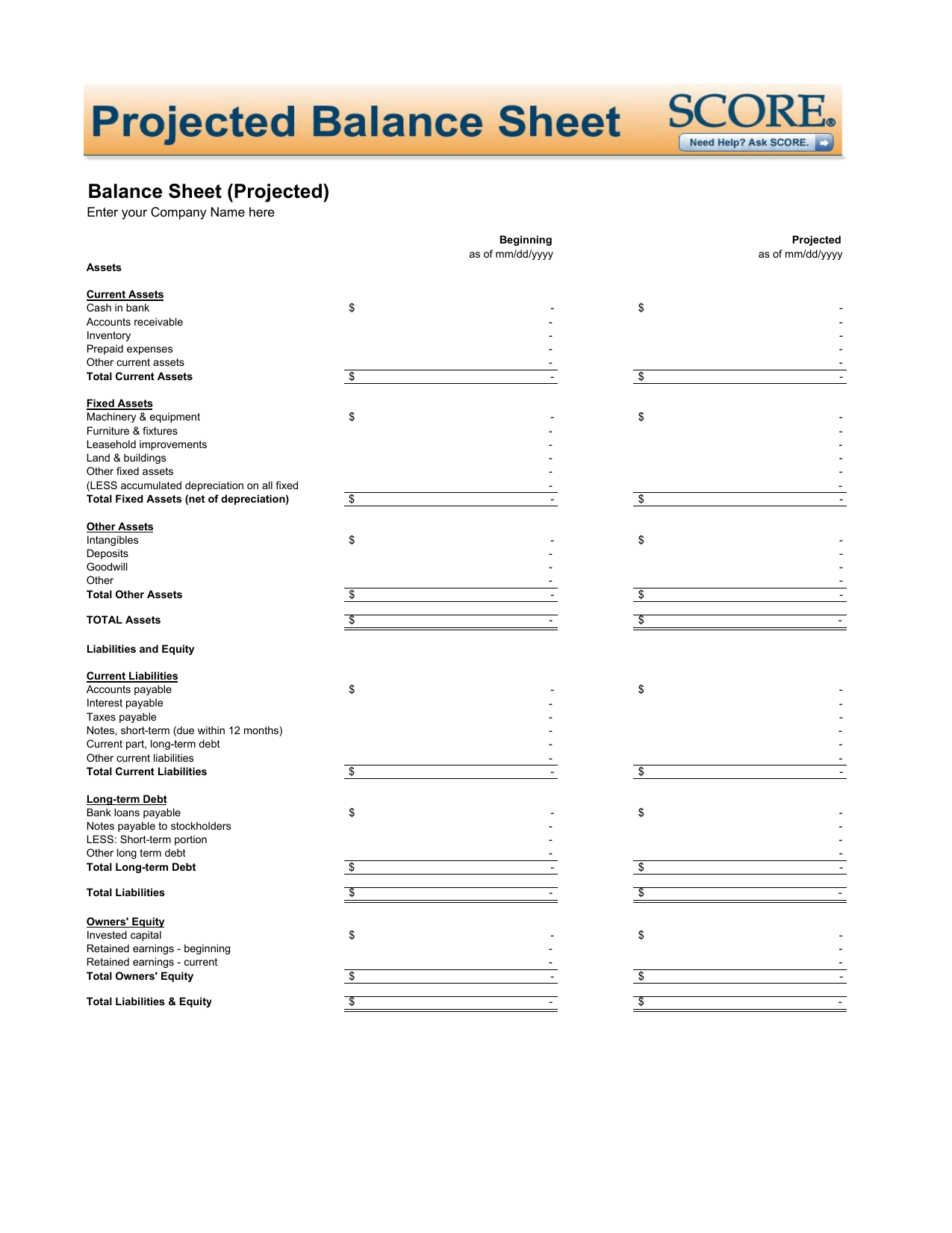 Download Projected Balance Sheet Template