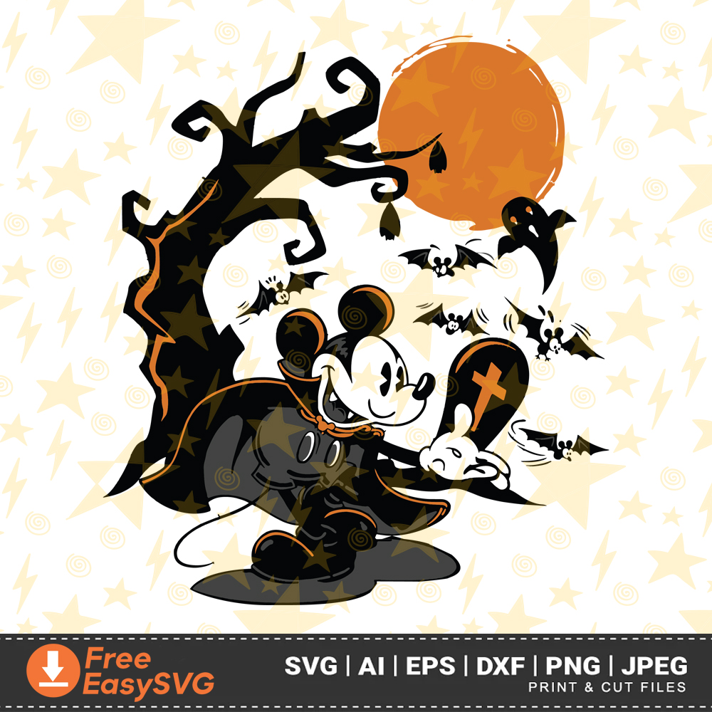 People will know you're a superfan if you wear one of these disney halloween costumes on october 31st. Disney Vampire Terror Mickey Halloween Svg Dxf Eps Png Ai Instant Freeeasysvg
