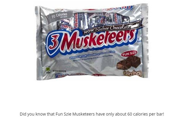 calories bite size snickers
