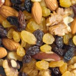 A selection of dried fruits and nuts.