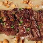 A beef fillet steak in an almond sauce.