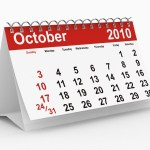 A calendar showing October 2010.
