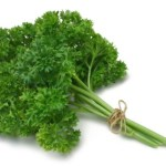 A bunch of parsley tied together.
