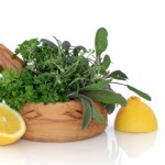 A basket of herbs with 2 half lemons either side.