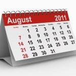 A calendar showing August 2011.