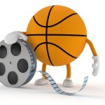 A basketball holding a movie reel.