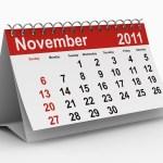 A calendar showing November 2011.