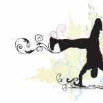 A cartoon of a black silhouette dancing.