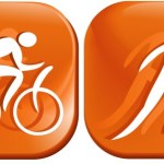 An orange illustration of a cyclist and a runner.