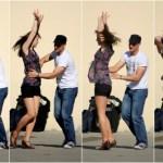 A couple street dancing.