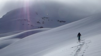 Ski touring up to Col of St Mean Martin