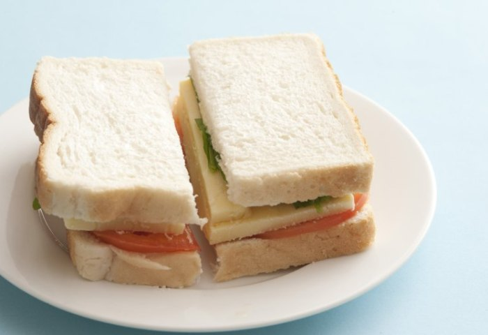 Fresh White Bread Sandwich On A Plate Free Stock Image