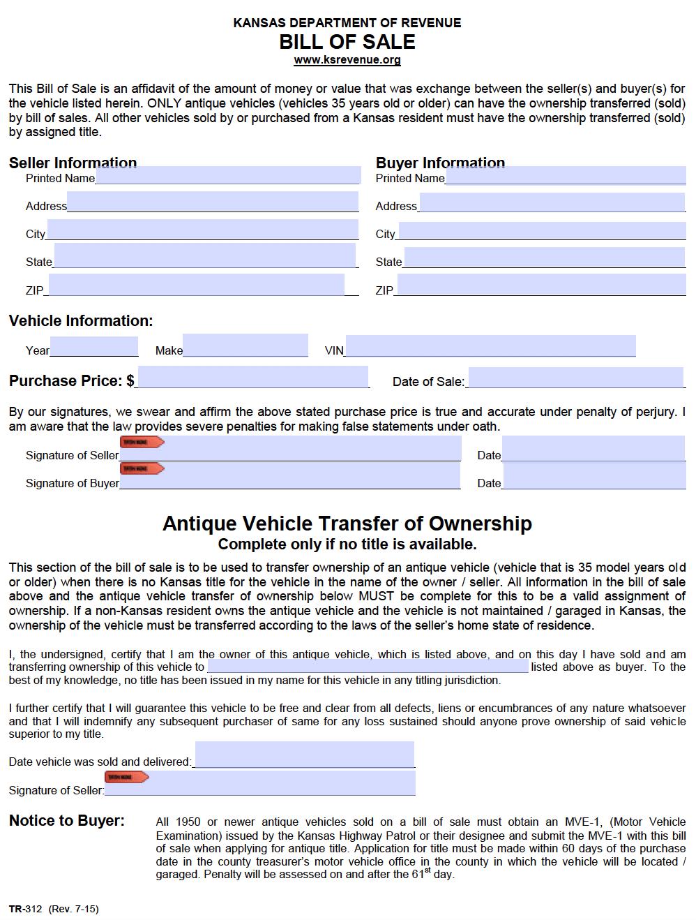 Free Kansas Bill Of Sale Forms Pdf