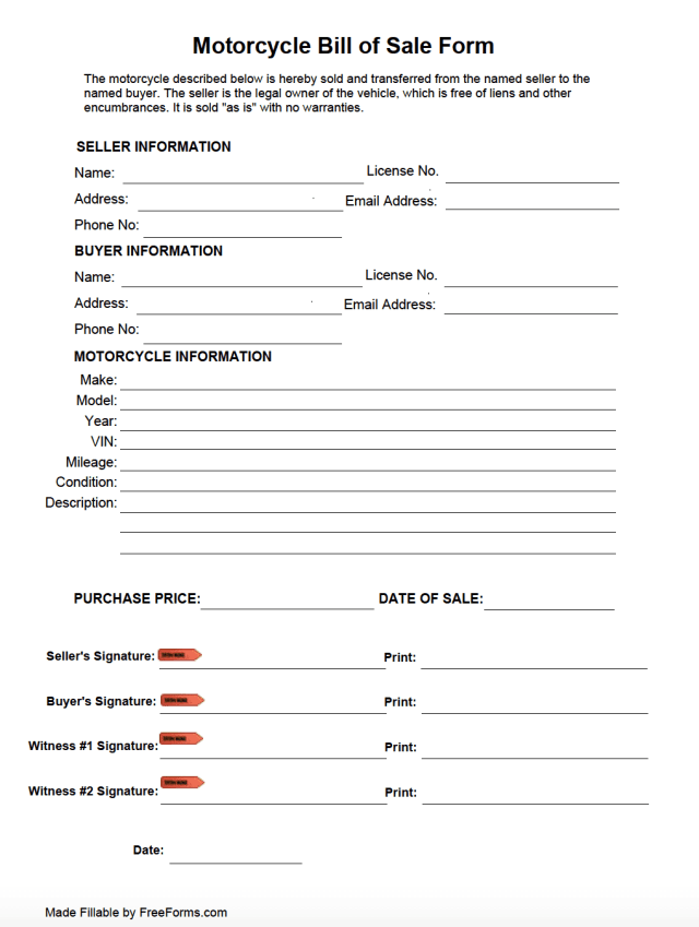 Free Motorcycle Bill of Sale Form  PDF