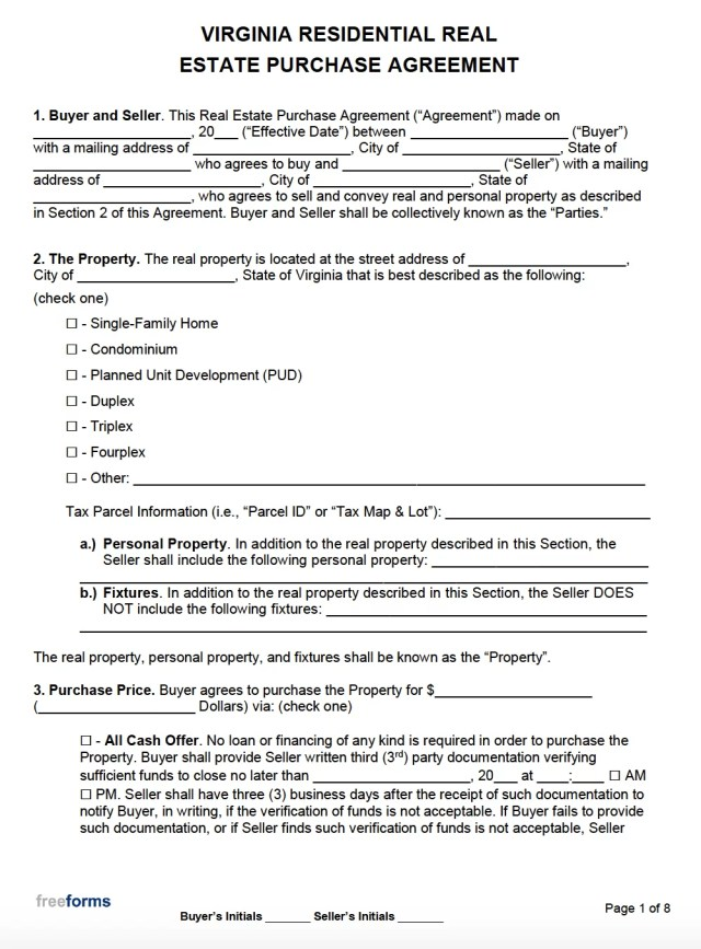 Free Virginia Real Estate Purchase Agreement Template  PDF  WORD