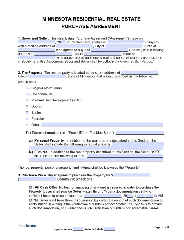 Free Minnesota Real Estate Purchase Agreement Template  PDF  WORD