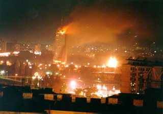 Belgrade burning after NATO air raid