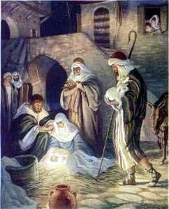 Shepherds visit Jesus