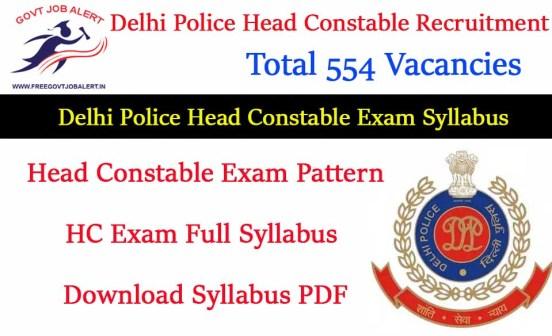 Delhi Police Head Constable Syllabus