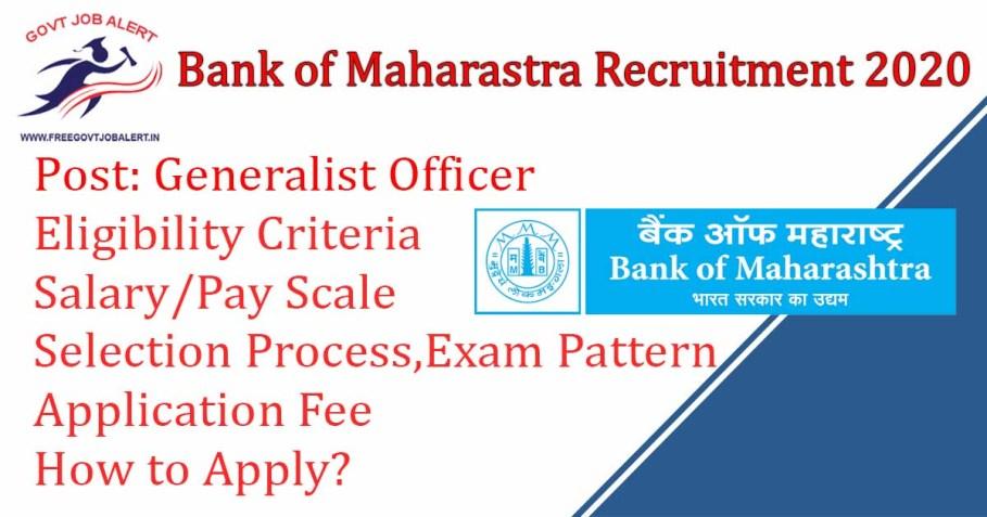 Bank Of Maharastra Generalist Officer Recruitment