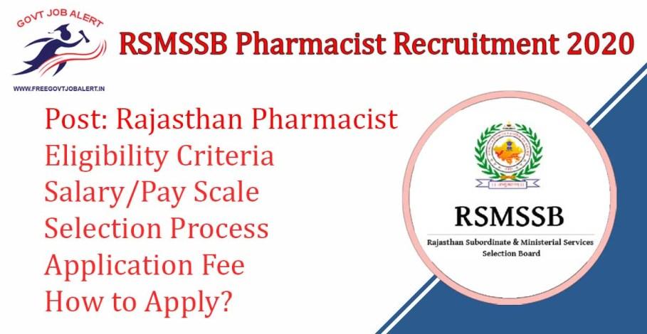 RSMSSB Pharmacist Recruitment