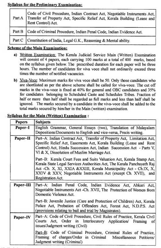 Kerala High Court Judicial Service Exam Syllabus