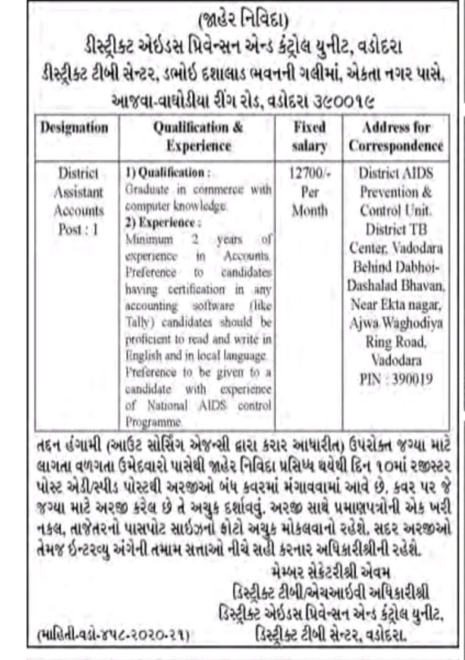 District Aids Prevention and Control Unit, Vadodara Recruitment For District Assistant Account Posts 2020
