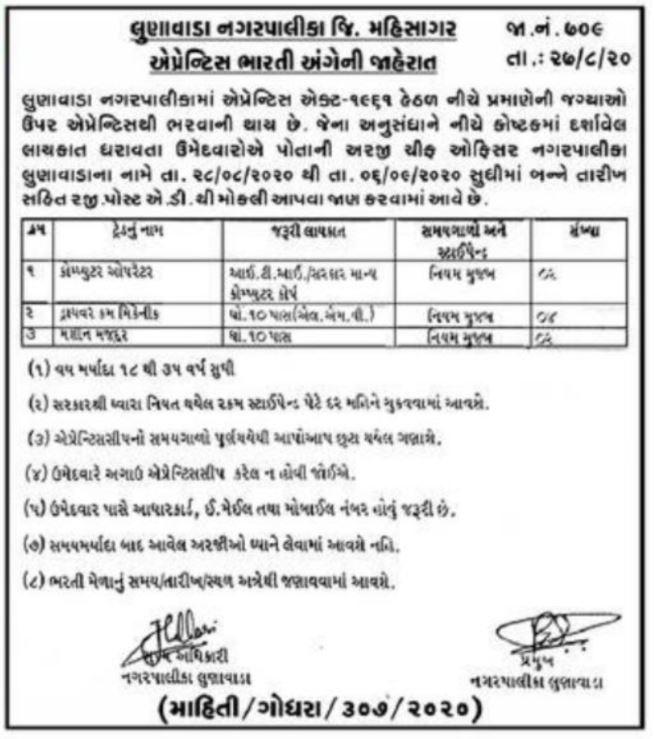 Lunawada Nagarpalika Apprentice Bharti 2020 - 10th-12th Pass Job in Lunawada