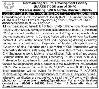 Narmadanagar Rural Development Society Recruitment 2020 For Civil Engineer Jobs in Bharuch