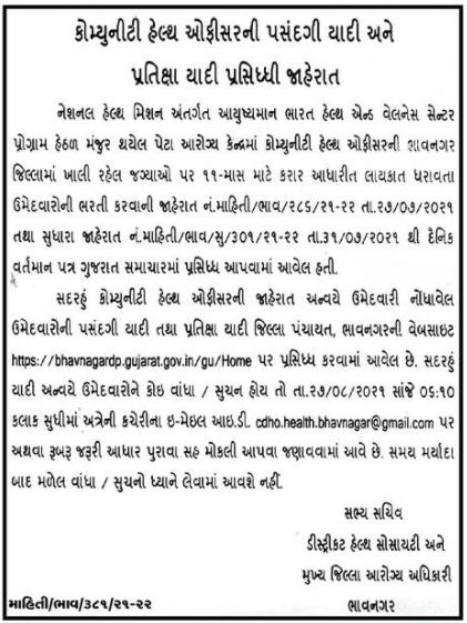 District Health Society Bhavnagar CHO Merit List Released