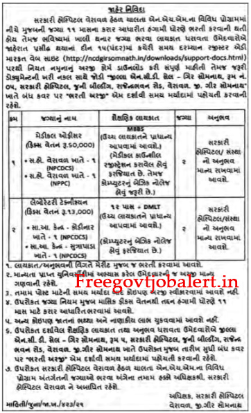 Govt Hospital Veraval Recruitment For Medical Officer & Lab. Technician Post 2021