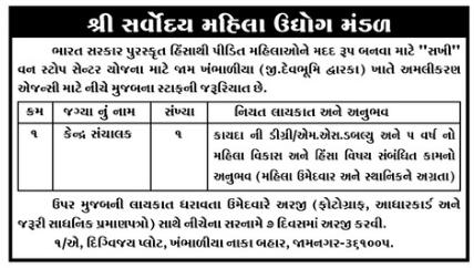 Shree Sarvoday Mahila Udhyog Mandal Recruitment 2020 For Center Manager Post