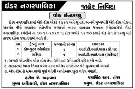 Idar Nagarpalika Apprentice Bharti 2020