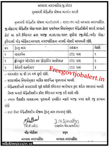 Barvala Nagarpalika Recruitment 2021 - 10 ITI Pass Trade Apprentice