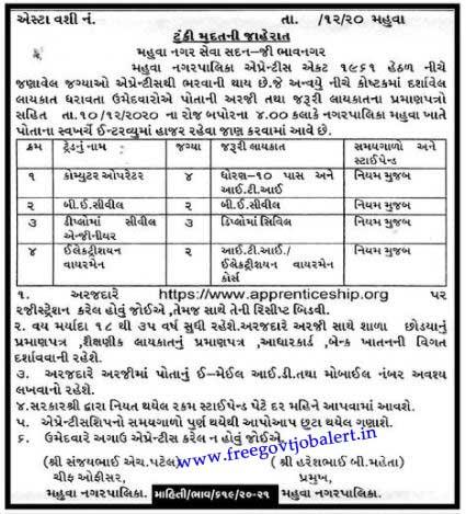 Mahuva Nagar Palika Apprentice Bharti 2020