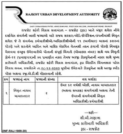 Rajkot Urban Development Authority Recruitment 2021 Retired Deputy Mamlatdar Post