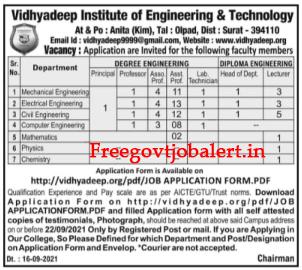 Vidhyadeep Campus Surat Recruitment 2021 85+ Principal, Professor & Other Posts