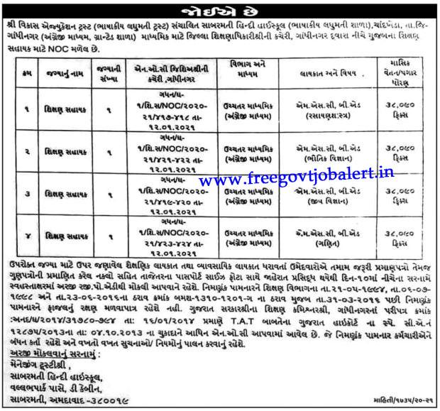 Sabarmati Hindi High School Chandkheda Jobs 2021 - Shikshan Sahayak Posts