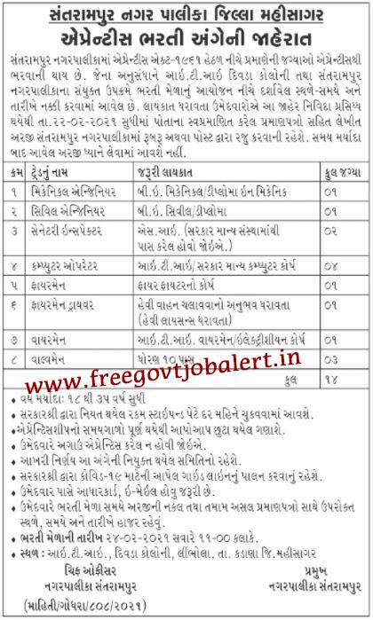 Santrampur Nagarpalika Recruitment 2021 - 14 SI, COPA & Other Apprentice Bharti