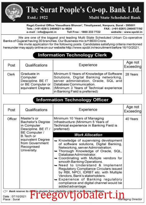 Surat People's Co-Op Bank IT Clerk - Officer Vacancy