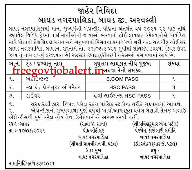 Bayad Nagarpalika Recruitment 2021 - 7 Driver & Other Posts