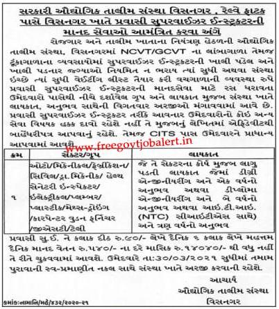 ITI Vishnagar Recruitment 2021 - Pravasi Supervisor Instructor Post